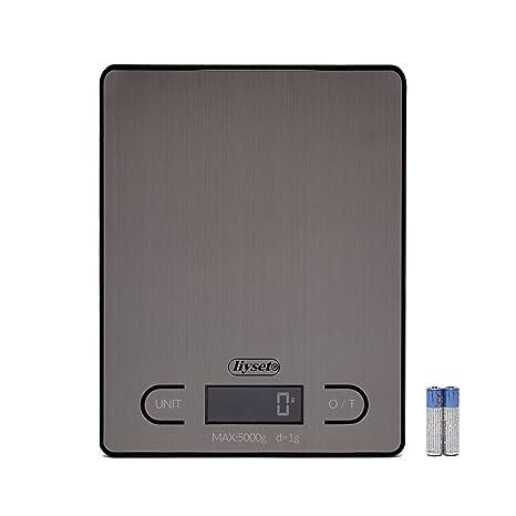 LIYSET Báscula Digital para Cocina, 5 kg/11 lbs, Plataforma de Acero Inoxidable