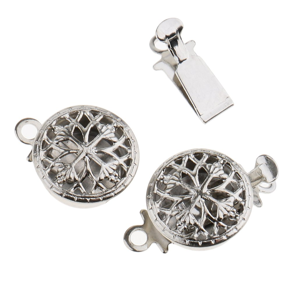 MagiDeal 5 Sets Hollow Filigree Flower Pinch Push Clasps 15x10mm Vintage Silver Buckle Bracelet Ends Clasps DIY Jewelry Making Necklace Findings Accessories