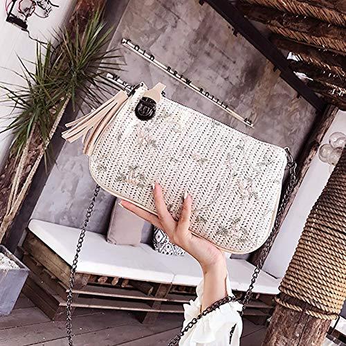 Ishine Imprimé Mode La Tissé Bandoulière Fermeture Femme À Glissière Sac Paille rw6xr0