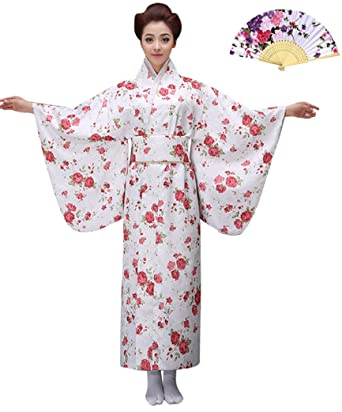 0d95e692273 Amazon.com  CRB Womens Kimono Japanese Asian Top Dress Robe Belt Outfit Fan  Set 4 Piece  Clothing