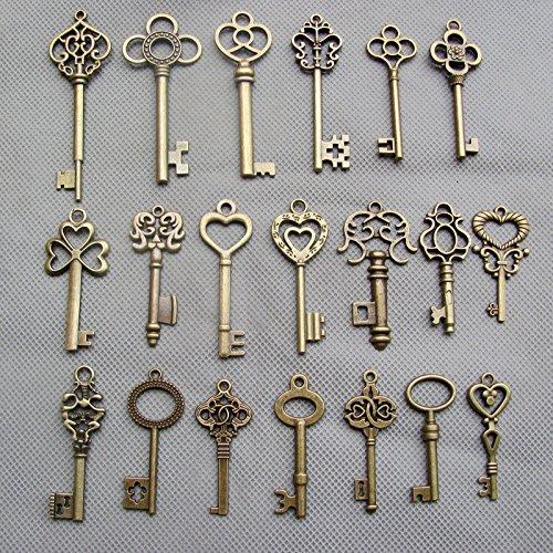 SL crafts Mixed Set of 20 Skeleton Keys Antiqued Brass Bronze Charms Pendants Wedding favor 38mm-68mm