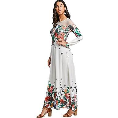 d81a3ca22fb DressLily Women s Mesh Insert Floral Printed Maxi Dress at Amazon ...