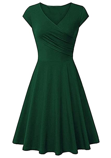 635e5005dffdd EFOFEI Womens Casual Swing Short Sleeve Wrap Solid Color A Line Dress