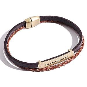 VIVA-ILL 本革 編み込み レザー ブレスレット メンズ 革 2連 レディース ペア 人気 バングル アンティーク カップル ブラウン 茶色
