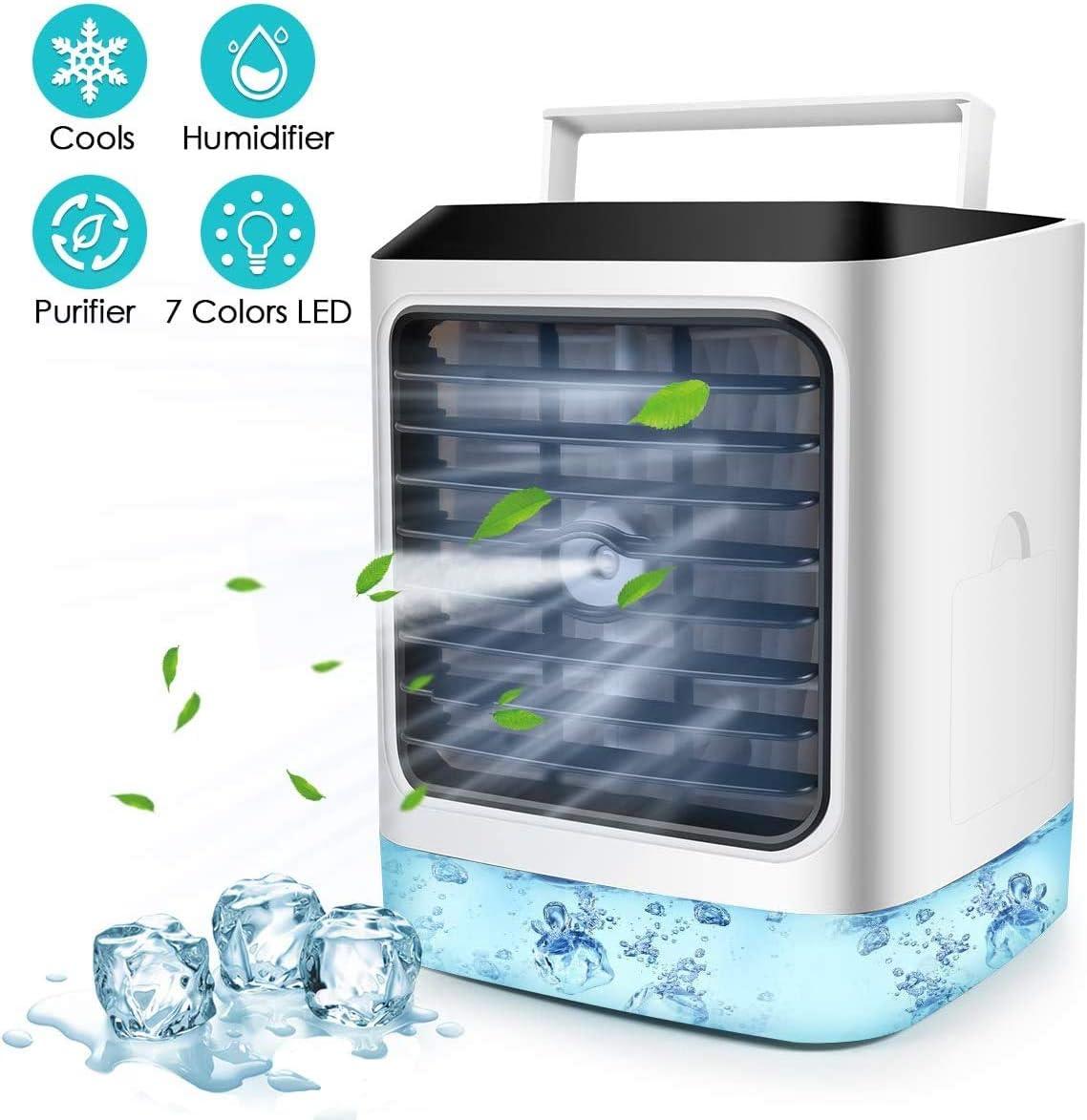 Aire acondicionado portátil, 4 en 1, mini refrigerador de aire de espacio personal, humidificador, ventilador de escritorio con 3 velocidades para el hogar, la oficina