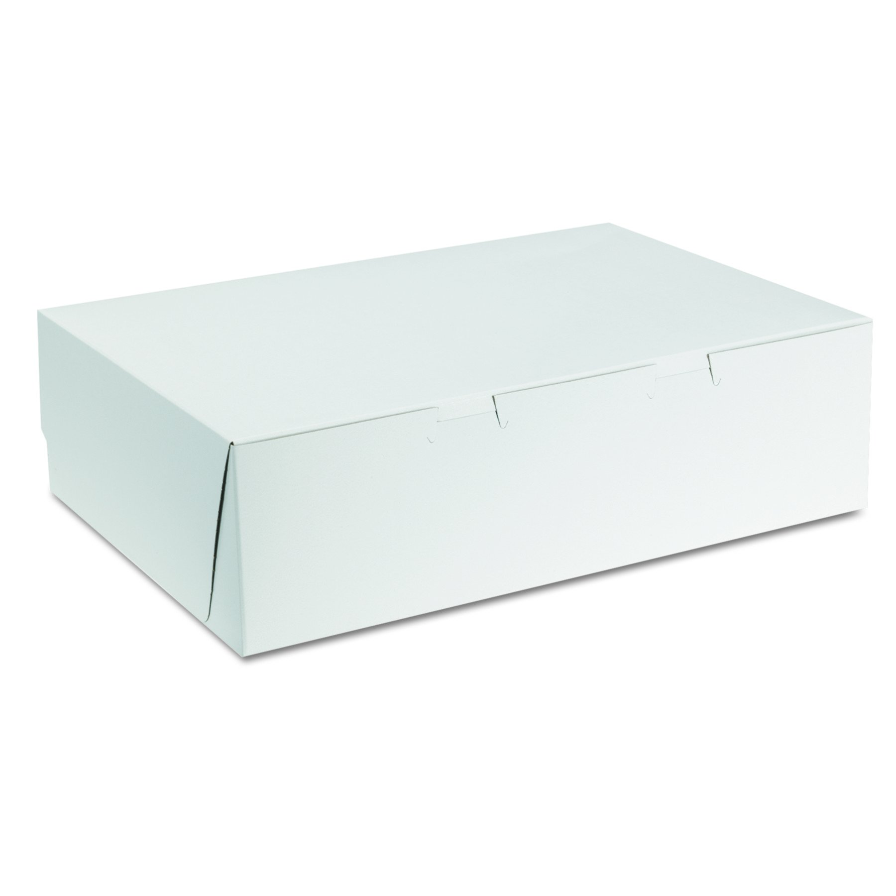 Southern Champion Tray 1025 Premium Clay Coated Kraft Paperboard White Non-Window Cake Box 14'' Length x 10'' Width x 4'' Height, 1/4 Sheet, Lock Corner, 1 Piece (Case of 100)