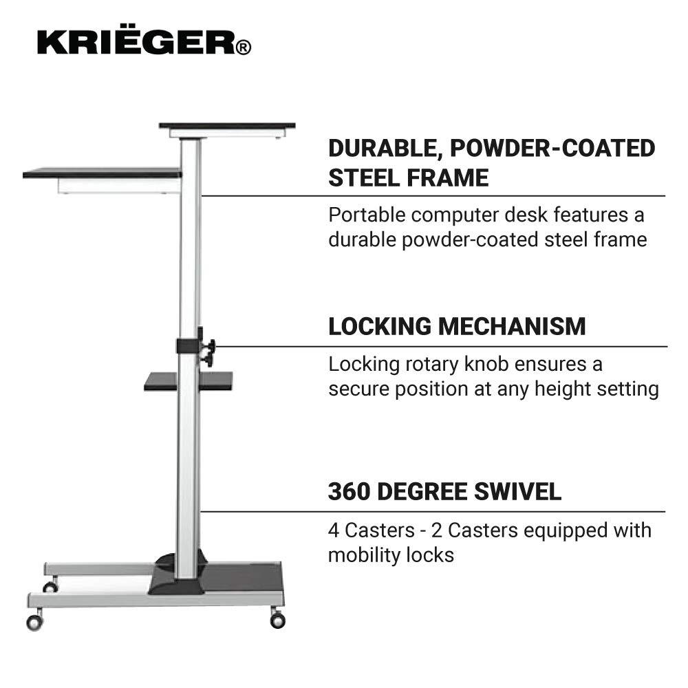 KRI GER KMC01 37 to 54 Ergonomic Height Adjustable Mobile Computer Workstation
