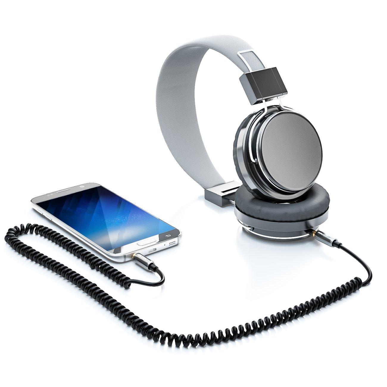 deleyCON 1m Cavo Jack a Spirale 3,5mm Cavo Jack Stereo Audio da 3,5mm Connettore da 3,5mm Placcato in Oro