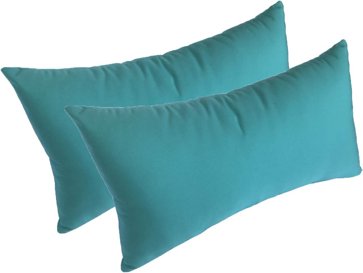 Amazon Com Set Of 2 22x12x4 Sunbrella Indoor Outdoor Fabrics Lumbar Pillows In Aruba By Comfort Classics Inc Garden Outdoor