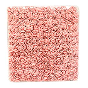 Charmly Mini Fake Rose Flower Heads 144pcs Little Artificial Roses DIY Flowers Accessories Home Hotel Office Wedding Party Craft Art Decor Champagne Pink 26
