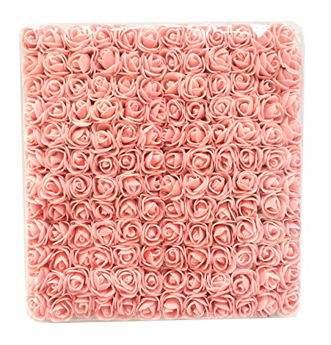 Charmly Mini Fake Rose Flower Heads 144pcs Little Artificial Roses DIY Flowers Accessories Home Hotel Office Wedding Party Craft Art Decor Champagne Pink