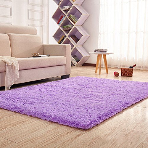 Noahas Super Soft Modern Shag Area Rugs Fluffy Living Room Carpet Comfy Bedroom Home Decorate Floor Kids Playing Mat 4 Feet by 5.3 Feet,Purple - Kids Floor Rugs
