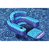 """Pool Central 70"""" Blue and White Convertible Lounger with Back and Neck Rest"""