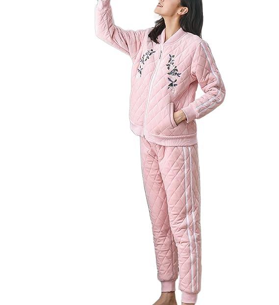 SAPEOO102 Ropa De Dormir Pijamas De Invierno para Mujeres Cálido Acogedor Pijamas De FranelaSoft Pijamas De