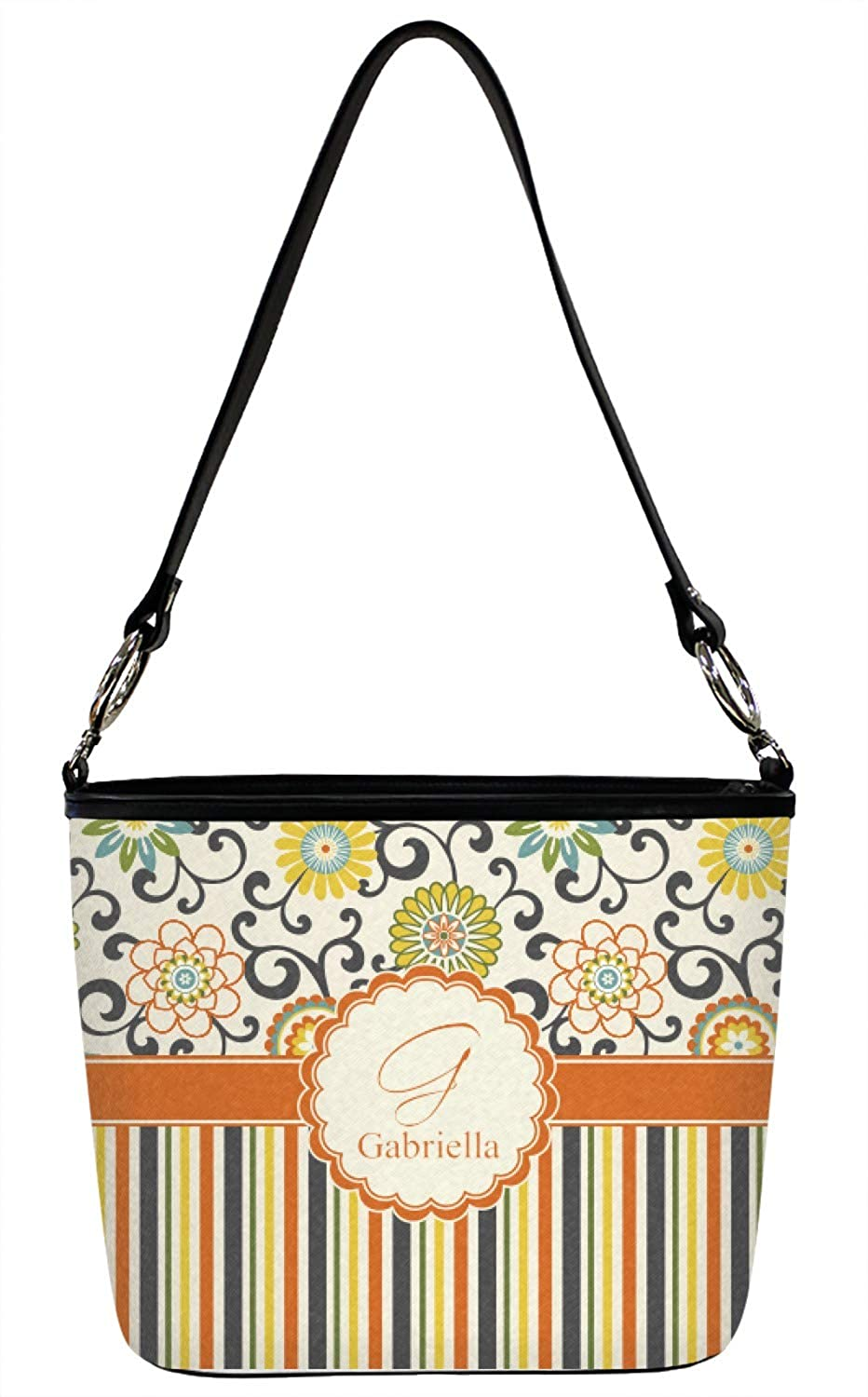 Front Personalized Floral /& Stripes Bucket Bags w//Genuine Leather Trim Large Swirls