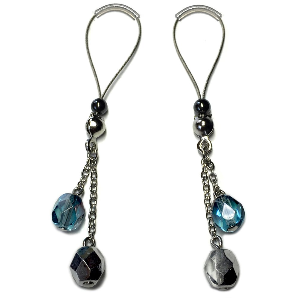 Nipple Jewelry Noose Rings Czech Glass Blue Silver Hematite Adjuster Non Piercing Nipplerings