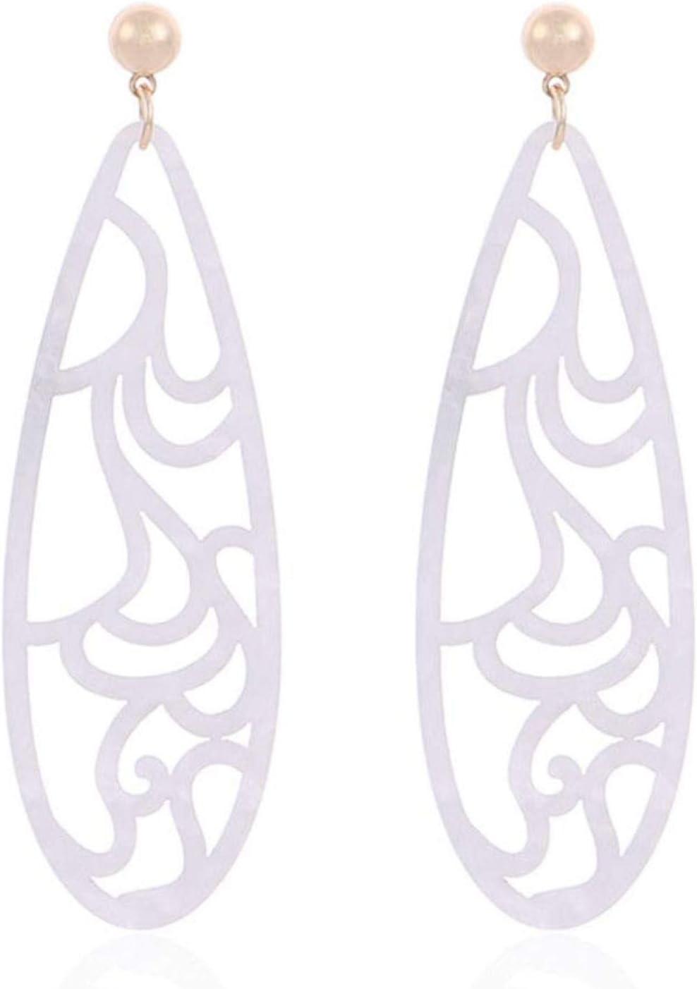 Pendientes Para Mujer,Personalidad Chic Bohemia Verde Hueco Hacia Fuera Gota Joyería Moda Largo Ovalado Colgante Tallado Resina Grandes Pendientes Para Las Mujeres Fiesta Cumpleaños Regalo Para La