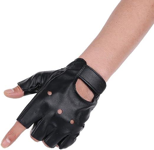 JISEN Men PU leather Gloves Steampunk Gothic Half Finger Hook-Loop Mittens