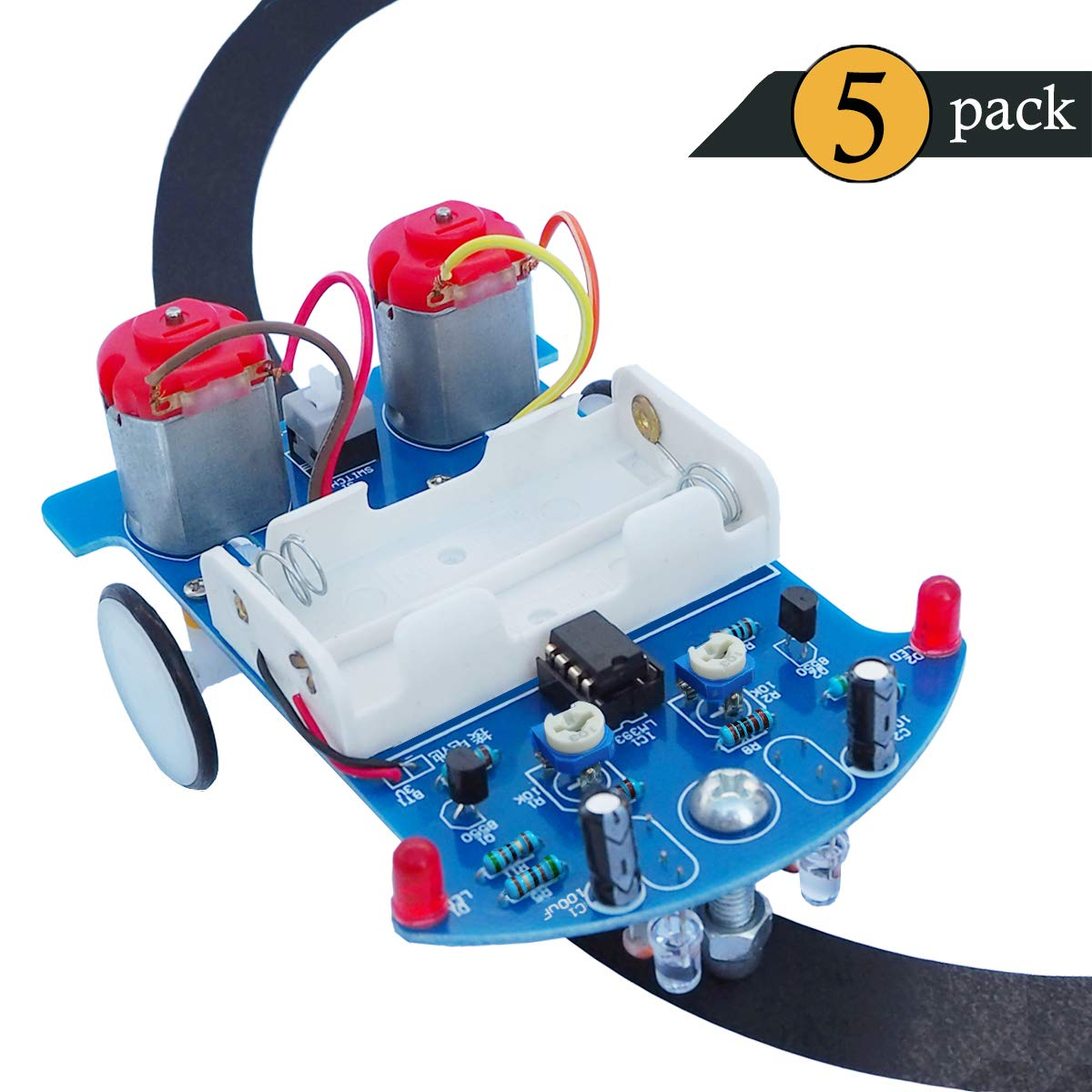 Vogurtime 5 Pack D2-5 Smart Car Kit Soldering Project Line Tracking Robot for Fun Educational Electronic Learning Practicing with English Manual by VOGURTIME
