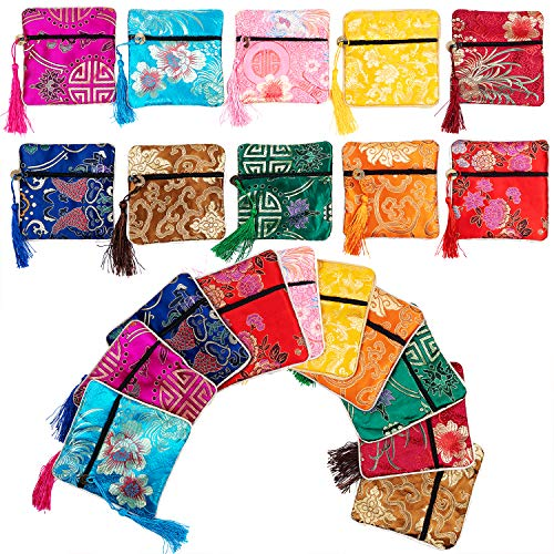 handrong 20PCS Silk Brocade Coin Purse Pouch Tassel Zipper Jewelry Gift Bag Pouches Small Chinese Embroidered Organizers Pocket for Women Girls Dice Necklaces Earrings Bracelets, Mix Colors -