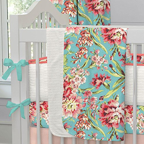 Carousel Designs Coral and Teal Floral Crib Blanket by Carousel Designs