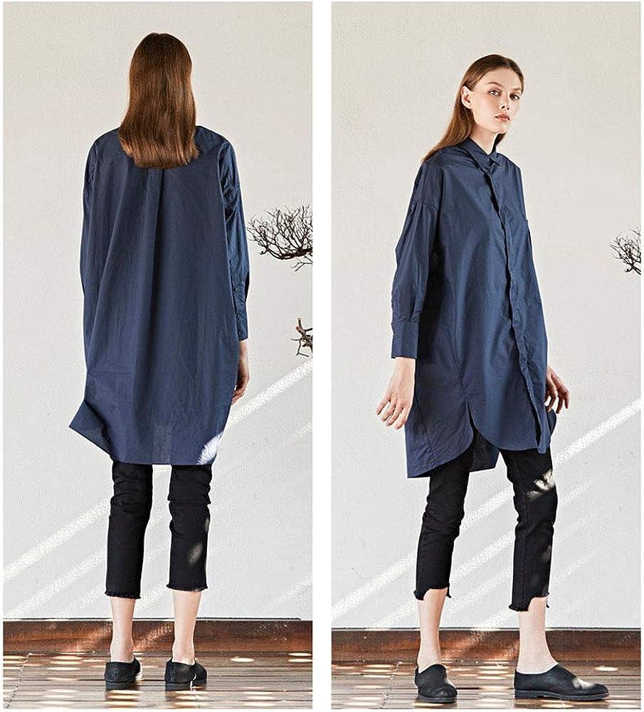 PERFECT LADY Autunno 2019 Camicia da donna Versione sciolta risvolto Soglia nascosta Orlo aperto Manica a spalla che cade Sezione lunga camicia Carbon Black Blue