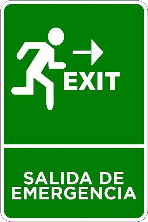 Oedim Señaletica Para Exteriores Salida Emergencia Exit Tamaño A5 (21x14,8cm) | Señaletica
