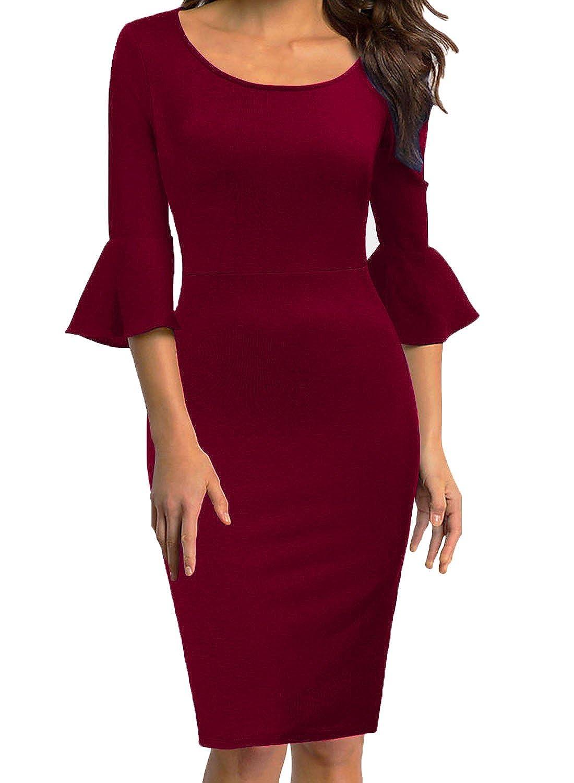 759218566e5c3 WOOSEA Womens Flounce Bell Sleeve Scoop Neck Office Work Casual Pencil Dress