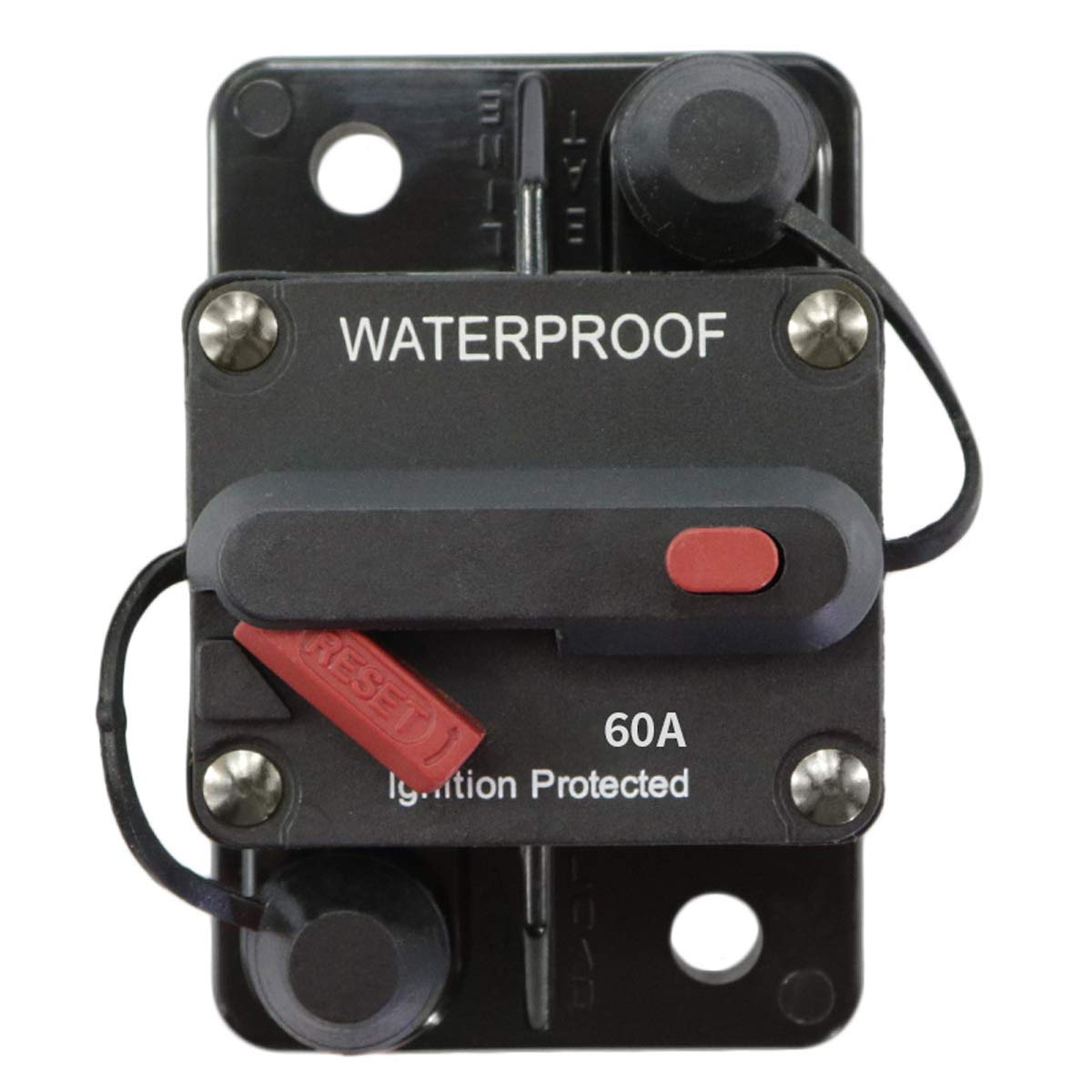 AUKA 60 Amp Circuit Breaker with Manual Reset High Amp Switchable,Surface-Mount,12V- 48VDC, Waterproof for Trucks Bus Rv Suv Marine (60A)