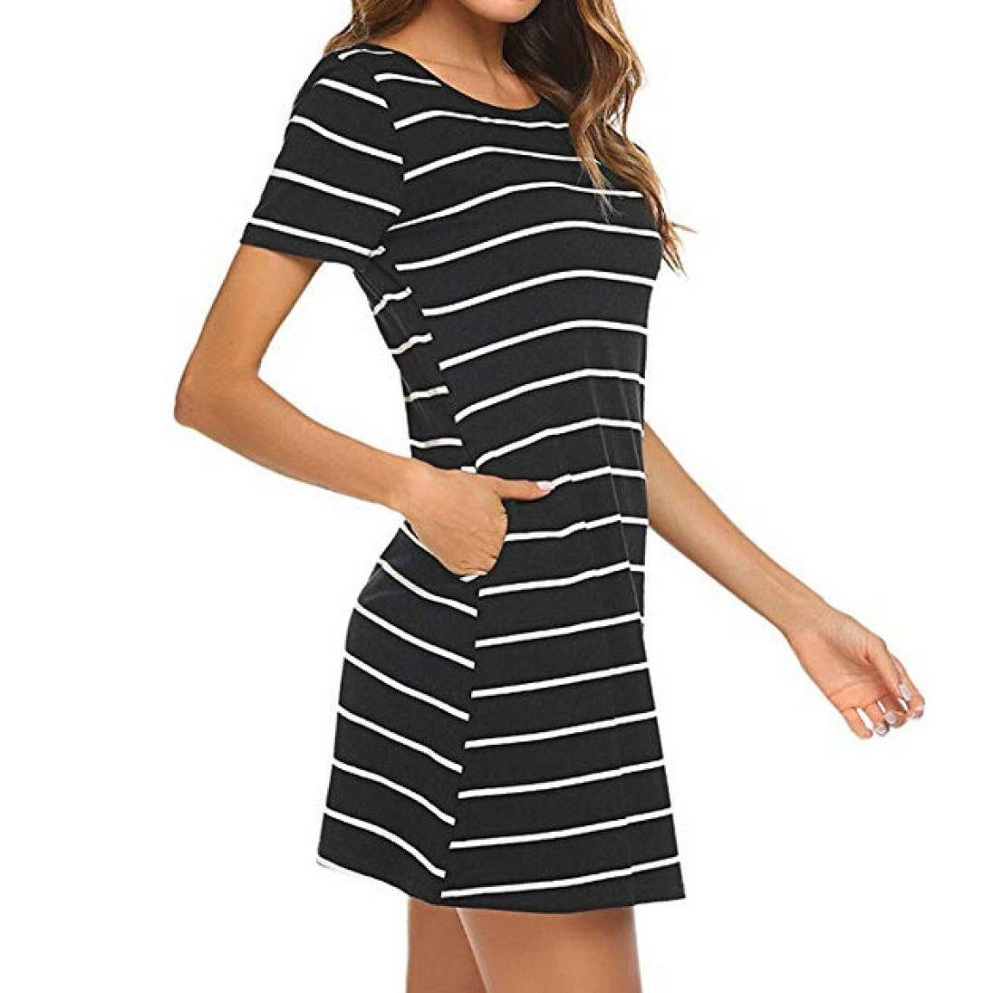 a62a0adac872 Easytoy Women's Casual Striped Criss Cross Short Sleeve T Shirt Mini Dress  with Pockets: Amazon.in: Clothing & Accessories