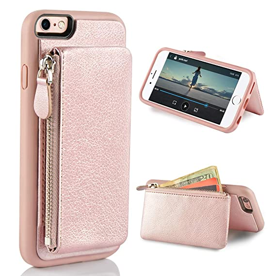 separation shoes b5f93 90f29 LAMEEKU iPhone 6 Zipper Wallet Case, iPhone 6S Leather Case with Kickstand,  Protective Apple 6S Credit Card Holder Slot Cases, Shockproof Stand Cover  ...