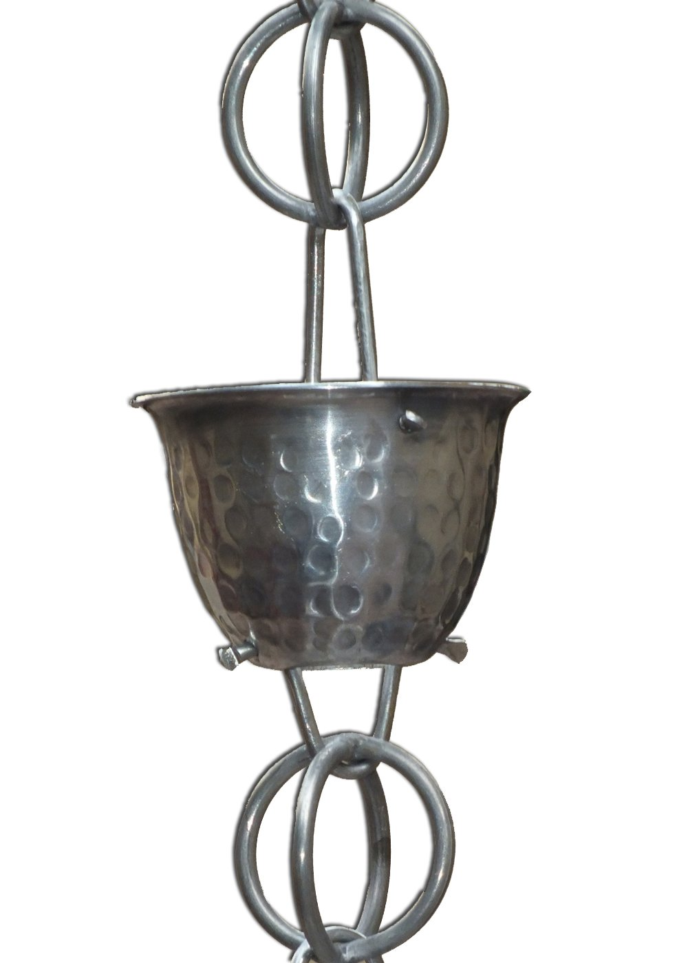Monarch Aluminum Hammered Cup Rain Chain, 8-1/2 Feet Length (Mill Finish)