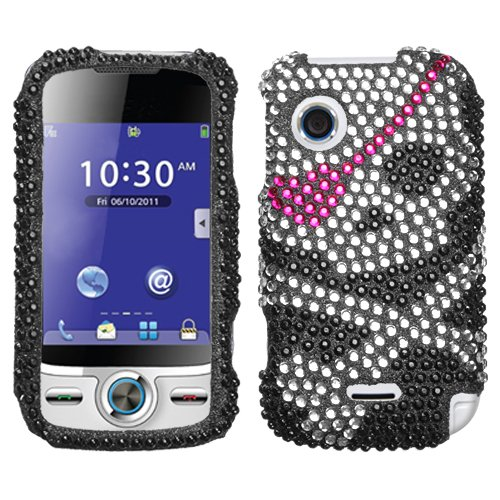 Sparkling Black Skull with Pink Eye Patch Full Diamond Rhinestone Snap on Hard Skin Cover Case for Huawei M735