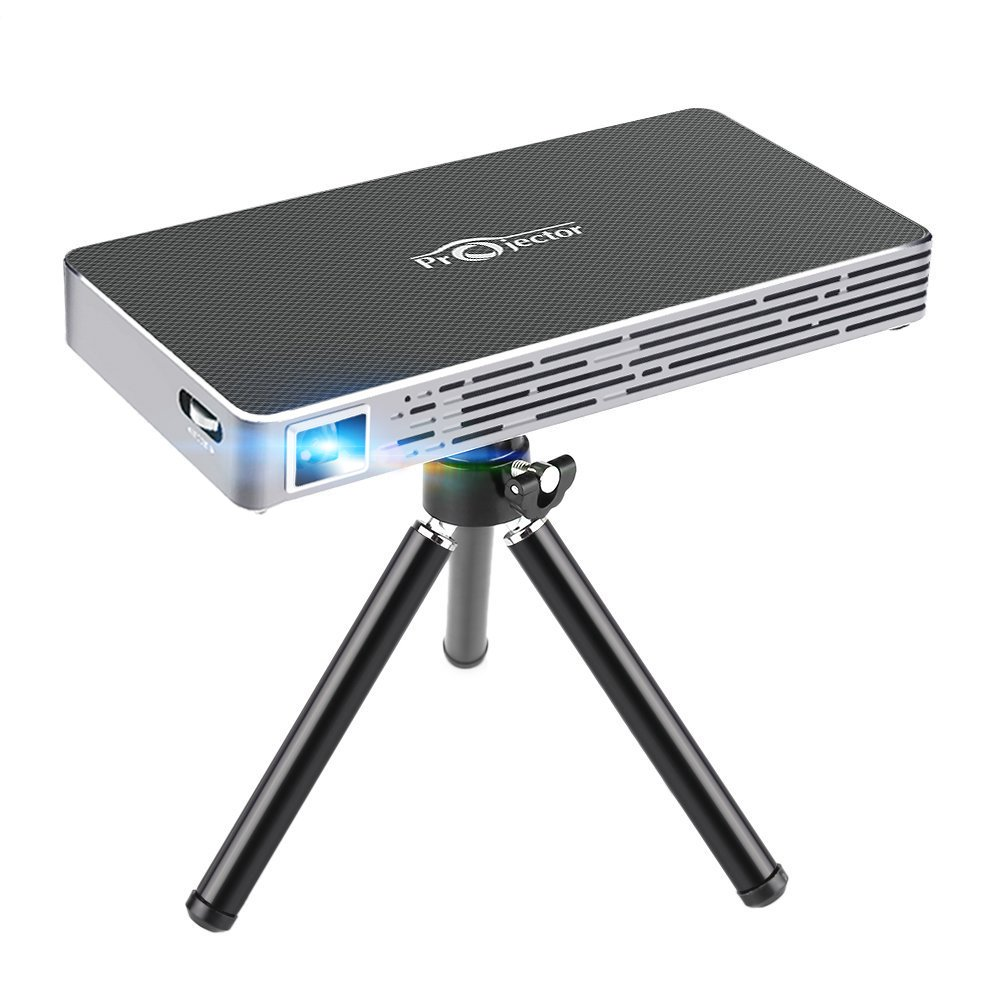 Roadwi DLP Mini Projector Probable Pico Projector, Android UI 4.4.4 Operating System With 120 Inch Display Support 1080P WiFi/Bluetooth/USB/HDMI/TF Card/Audio Speakers with Free Tripod by roadwi (Image #1)