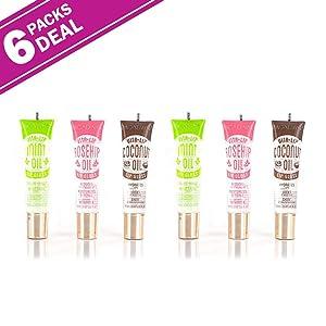 6-PACKS Kiss Broadway Clear Lip Gloss (Mint,Coconut,Rosehip Oil)