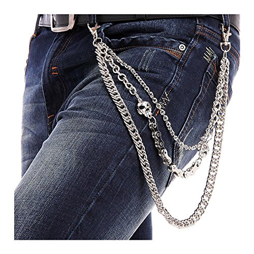 BeOne Men Cool Hip Hop Punk Pants Trousers Wallet Key Chain Motorcyle Jean Gothic Rock DIY Craft Decor Rock Style Jeans Pant Chain Heavy Waist Chain