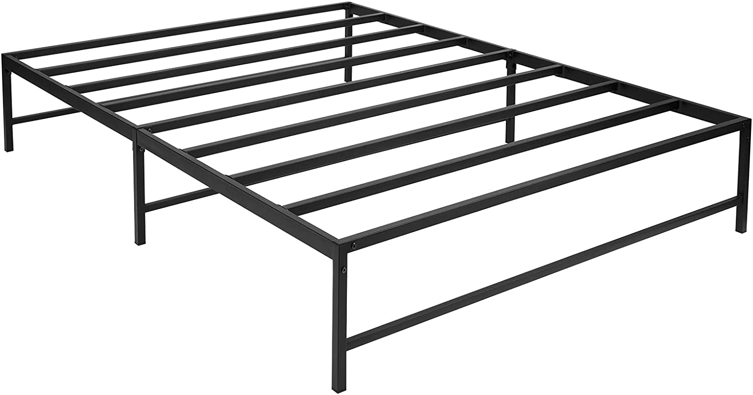 AITTA Queen Bed Frame 12 inch Metal Steel Slats Platform Bed Frame Mattress Foundation No Box Spring Needed, Easy Assembly, Queen