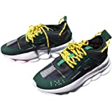 YGSMOUhao Mens Ultra-Lightweight Chain Reaction Sneakers Leather Casual Shoes Medusa Logo