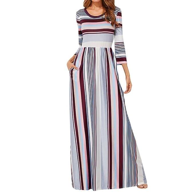 Mujer Vestido Casual Verano 2018,Sonnena Mujer elástico Cintura Rayas Vestido Largo 3/4 Longitud Manga Cuello-O Vestido de Fiesta Playa Verano Fresco: ...