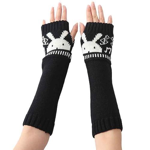 RETUROM Guantes de conejo de la manera Mujeres Moda de punto de la manga del brazo sin dedos de invi...