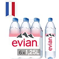 Evian Natural Mineral Water, 1.25L (Pack of 6)
