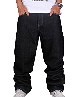 QIBOE Mens Baggy Jeans Denim Sweatpants Loose Pants