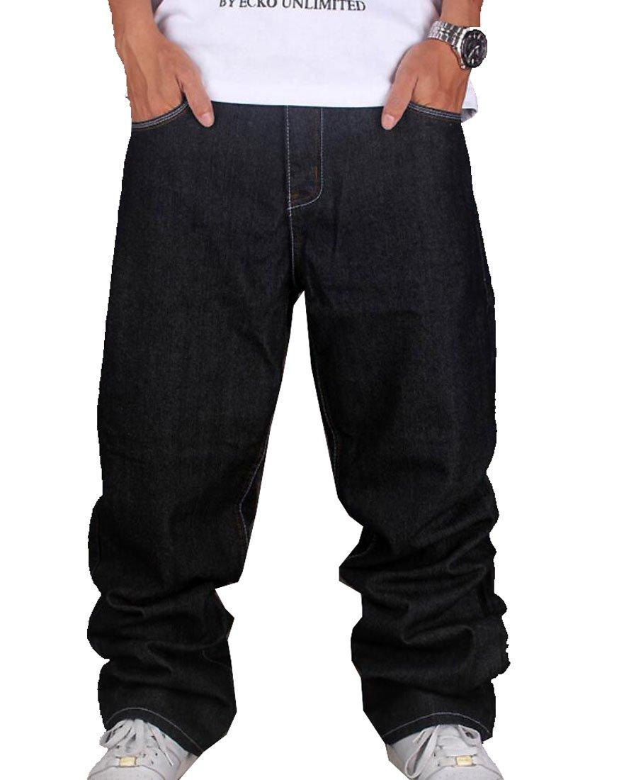 Tomteamell Mens Denim Pants Hip Hop Loose Fit Baggy Jeans Waist 46'' Black