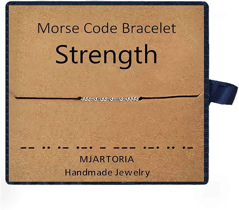 MJARTORIA Morse-Code Armband Damen Seil Armkette Fu/ßkettchen Silber Farbe Freundschaftsarmb/änder
