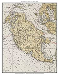 """This custom nautical chart is taken from the Coast Survey map """"Strait of Juan de Fuca to Georgia Strait"""" The original size is about 11""""x14"""" Printed on high quality bond paper with Canon ink."""