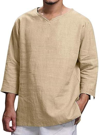 blusas hombre manga larga Moda simple Camiseta para hombre con ...