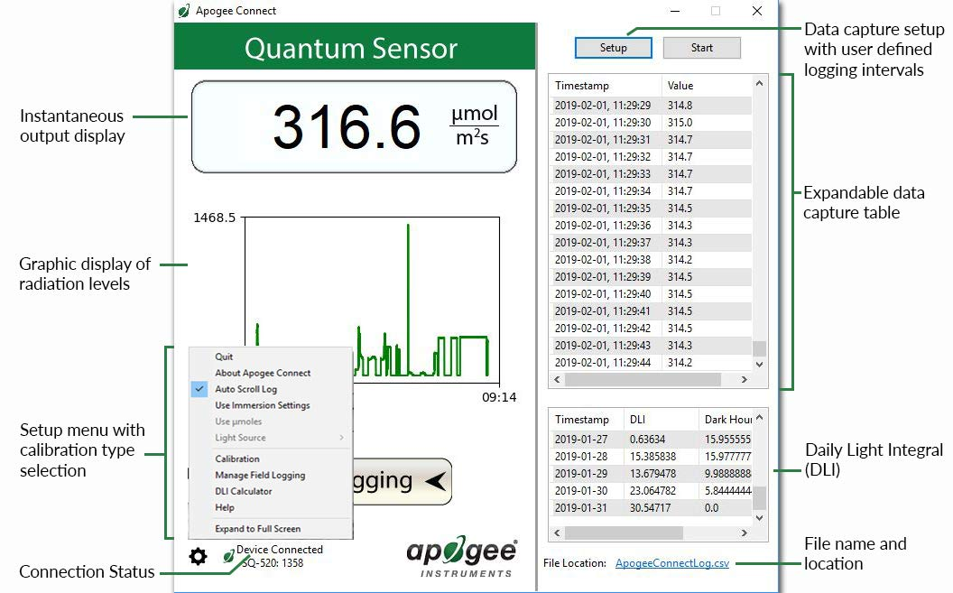 Our Best USB PAR Sensor Now Includes Sensor Leveling Plate Bundle. SQ-420 is a USB to PC, Smart Quantum Sensor for Taking spot Measurements or graphing and Data-Logging Real-time PPFD. by Apogee Instruments