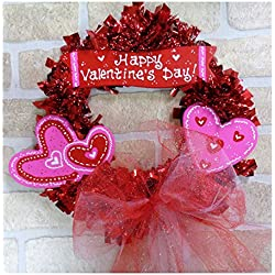 HAPPY VALENTINE'S DAY WOOD WREATH Sign Wall Hanger Door Heart Cupid Decor Plaque