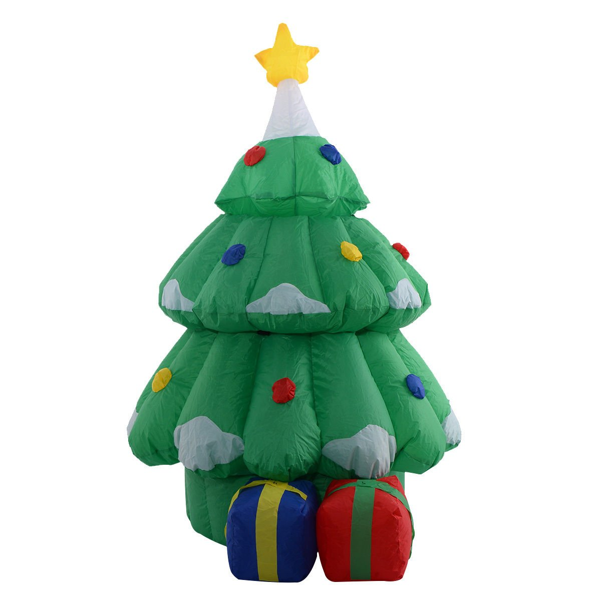TANGKULA 5 Ft Airblown Inflatable Santa Claus in Christmas Tree Decor Lawn Yard Outdoor