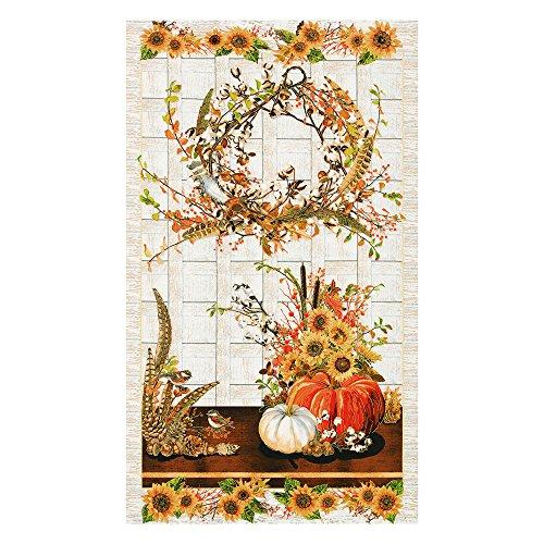 Wreath Fabric Panel (Robert Kaufman Kaufman Shades Of The Season Wreath 24in Panel Harvest Fabric By The Yard)